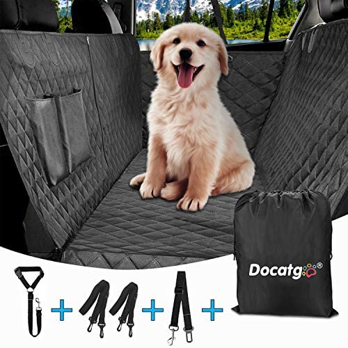Dog Car Seat Covers,Pet Car Seat Cover with Side Flaps,Waterproof Non-Scratch Non-Slip Dog Seat Covers for Cars, SUV, Trucks with 2 Dog Car Hammock, 1 Dog Seat Belt,1 Storage Bag 54 X 58 in