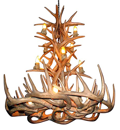 (Reproduction Antler Whitetail Deer Tall Spruce Chandelier Light Xlarge)