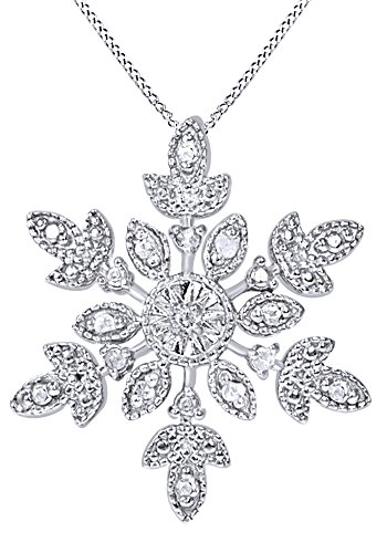 AFFY White Natural Diamond Snowflake Pendant Necklace in 14K White Gold Over Sterling Silver (0.1 Ct) (Diamond Silver Necklace Pave)