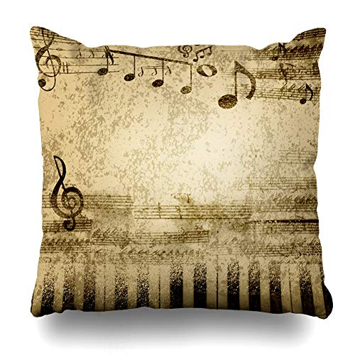 Ahawoso Throw Pillow Cover Old Brown Vintage Music Notes On Sheet Piano Yellow Hymn Song Concert Score Design Home Decor Cushion Case Square Size 18 x 18 Inches Zippered Pillowcase