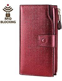 Women's RFID Blocking Large Capacity Leather Clutch Wallet Card Holder Organizer Ladies Purse(Wine Red)
