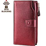 Itslife Women's RFID Blocking Large Capacity Leather Clutch Wallet Card Holder Organizer Ladies Purse(Wine Red)