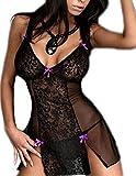 Eternatastic Women's Lace Lingerie Set Babydoll Underwear Plus Size – Purple, L=US S