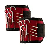 TraderPlus 2PCS Magnetic Wristband with Strong Magnets for Holding Screws, Nails, Drilling Bits, Bolts Tightly While Working (Red)