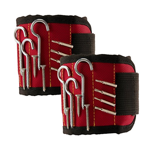 TraderPlus 2PCS Magnetic Wristband with Strong Magnets for Holding Screws, Nails, Drilling Bits, Bolts Tightly While Working (Red) by TRADERPLUS