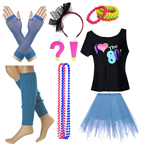 I Love The 80's T-Shirt Fancy Outfit Dress for 1980s Theme Party Supplies (S/M, Sky Blue)]()