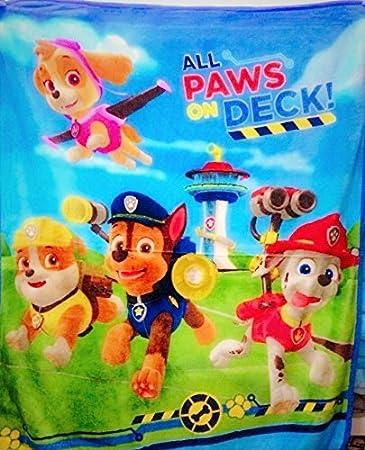 Amazon.com: Nick Jr Paw Patrol All Paws on Deck Silky Plush Fleece ...