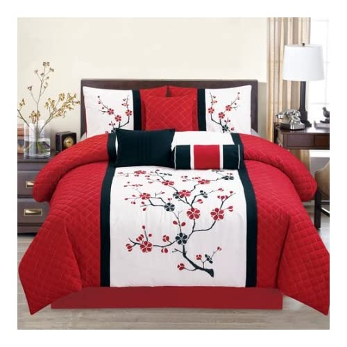 Image of Home and Kitchen Elight Home Sakura Red Embroidery 7-Piece Comforter Set Red/White Queen 7 Piece