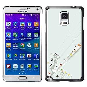 [Neutron-Star] Snap-on Series Teléfono Carcasa Funda Case Caso para Samsung Galaxy Note 4 [Aves de la línea de arte colorido Pintura Acuarela]