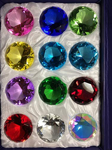 (Holiday's Day Special: Crystal Glass Diamond Paperweight Round Cut 12pc Box Set (50mm) )
