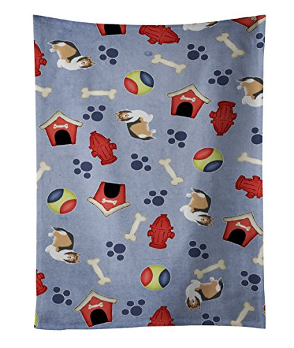 "Caroline's Treasures BB4118KTWL Dog House Sheltie Shetland Sheepdog Kitchen Towel, 25"" x 15"", Multicolor"