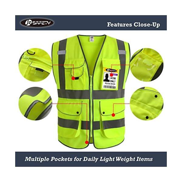JKSafety Nueve bolsillos Nivel 2 Uniforme trabajo Chaleco con cremallera-Chaleco reflectante fluorescente-Chaleco de… 8
