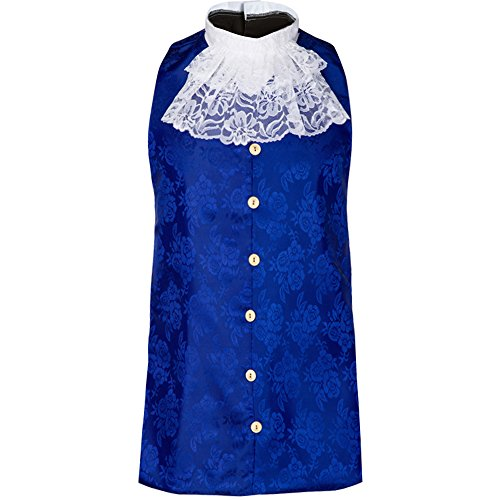 Children's Colonial Vest and Jabot Set in Brocade, Colonial Waistcoat (Large 11-12, Royal - Set Jabot