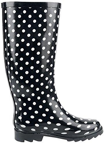 white Boots Gumboots Dots White Black Black Alcatraz Rain wF01q1U