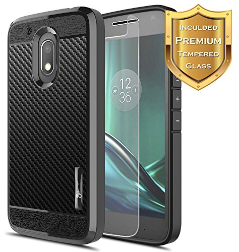 th [Tempered Glass Screen Protector], NageBee [Frost Clear] [Carbon Fiber] Slim Soft TPU Rubber Bumper Case For Motorola Moto G Play (4th gen) (Black) ()