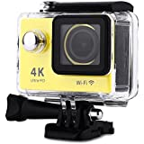 H9 Action Camera 4K Ultra HD 12MP WiFi Sport Cam Waterproof Underwater 30M Dual 2inch LCD Display 170° Wide Angle Lens 30 Accessories Kits (Yellow)