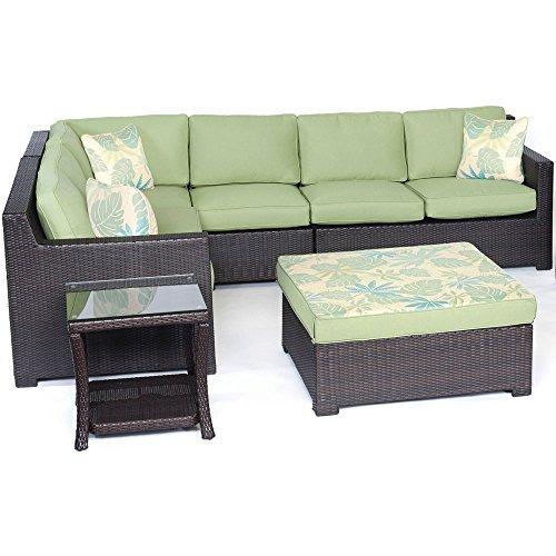Hanover Metropolitan Series Seating Set (6-Piece) Avocado Green / French Roast METRO6PC-B-GRN