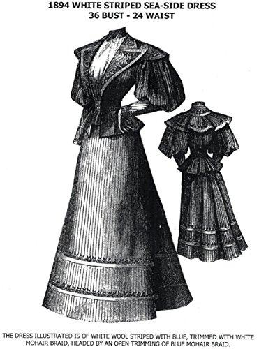 [1894 White Striped Sea-Side Dress Pattern] (Victorian Era Womens Costumes)