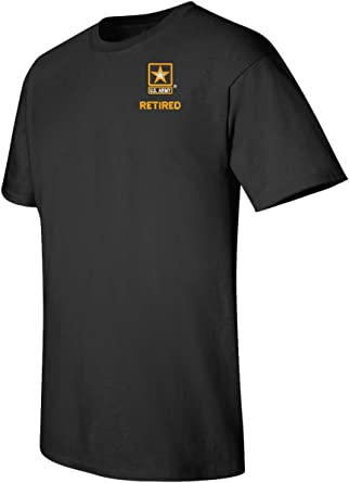 US Army Retired Logo EMBROIDERED Grey T Shirt  *New* US Military Gray-T