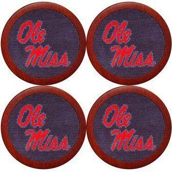 Ole Miss Needlepoint Coasters in Blue by Smathers & Branson