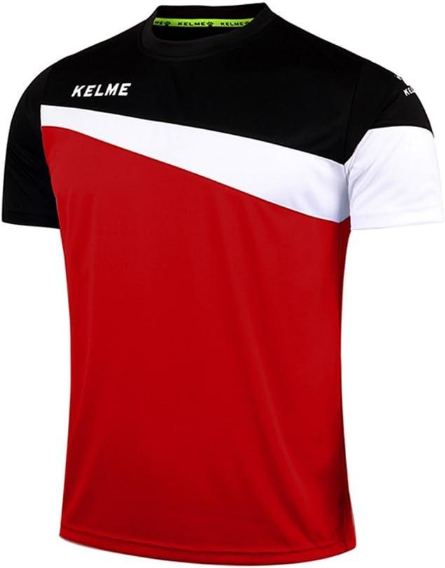 KELME Camiseta de fútbol de Manga Corta Equipo Traning Placa Uniforme, Hombre, Rojo/Negro, Small: Amazon.es: Deportes y aire libre