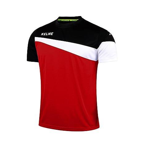 KELME Camiseta de fútbol de Manga Corta Equipo Traning Placa Uniforme, Hombre, Rojo/