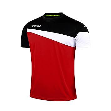 KELME Camiseta de fútbol de Manga Corta Equipo Traning Placa Uniforme, Hombre, Rojo/Negro, Medium: Amazon.es: Deportes y aire libre