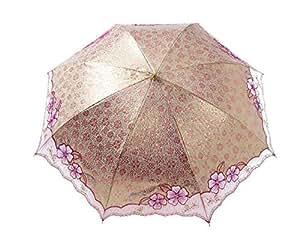 Cherry Blossom plegable paraguas fuerte sol protección UV UPF50+ Encaje canopy-pink flores
