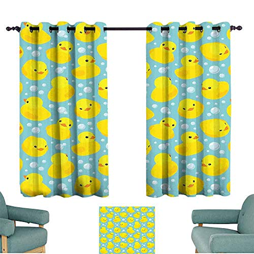 Mannwarehouse Nursery Decorative CurtainsforLivingRoom Cute Happy Rubber Duck and Bubbles Cartoon Pattern Childhood Kids Theme Art for Living, Dining, Bedroom (Pair) 63