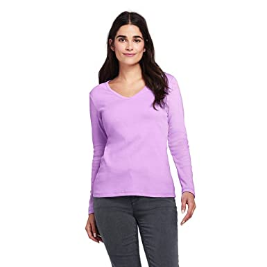 9fabd802 Lands' End Women's All Cotton Long Sleeve T-Shirt Rib Knit V-Neck at Amazon  Women's Clothing store: