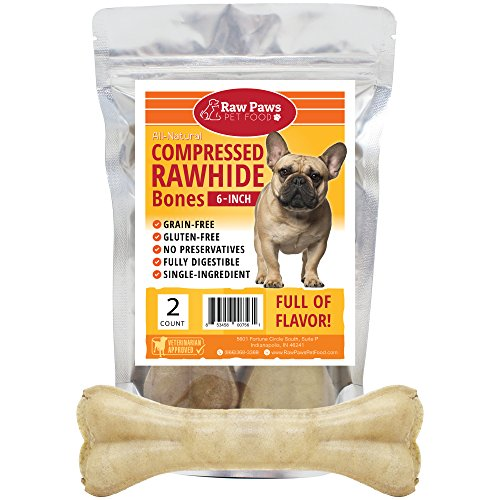 Raw Paws Pet Premium 6-inch Compressed Rawhide Bones for Dogs, 2-Count - Packed in USA - Long Lasting Dog Chews - Natural Pressed Rawhides - Medium Dog Bones - Beef Hide Bones for Aggressive Chewers
