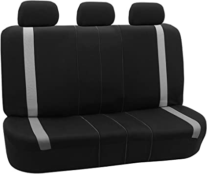 Black FH Group FB102010 Classic Cloth Seat Covers Rear Set Universal Fit for Cars Trucks /& SUVs