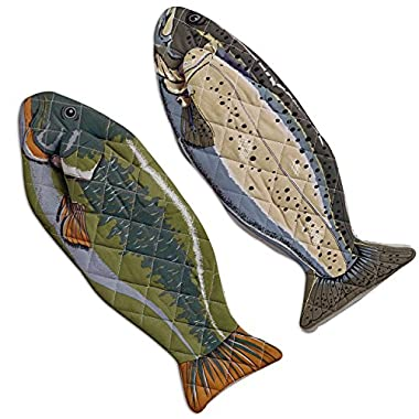 DII 100% Cotton, Machine Washable, Heat Resistant, Everyday Kitchen Basic, Lake House Oven Mitts, 6 X 16.5 , Set of 2, Fish
