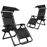 EACHPOLE |2-Pack| Infinity Zero Gravity Patio Lounge Chair with Sun Shield Canopy and Cup Holder, Black, APL1557