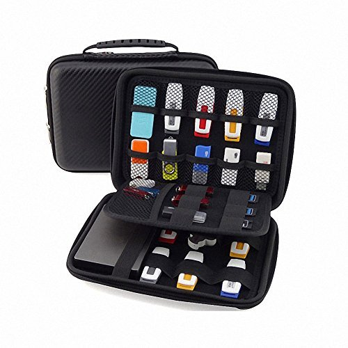 GUANHE USB Drive Organizer Electronics Accessories Case Shuttle with Cable Tie / Hard Drive Bag