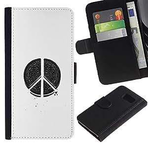 iBinBang / Flip Funda de Cuero Case Cover - Blanco Negro Art Pen sesión - Samsung Galaxy S6 SM-G920