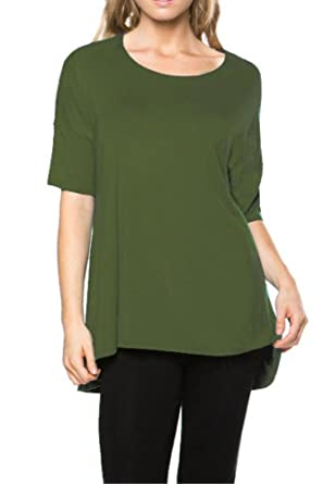 2aa00d168b7 Women's Short Sleeve Rayon Span High Low Loose Fit Tunic Top - Made in USA  Army