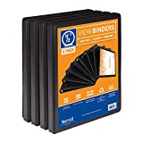 Samsill S88410 3 Ring Durable View Binders - 8 Pack, 1/2 Inch Round Ring, Non-Stick Customizable Clear Cover, Black