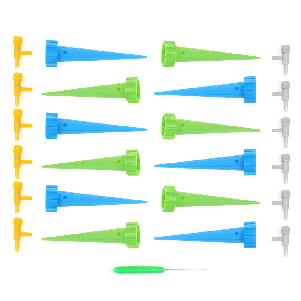 12 Pack Vacation Plant Waterer Drip Irrigation Automatic Watering Stakes with Slow Release Control Valve Switch for Indoor /& Outdoor Home Office Plants zosenda Plant Self Watering Spike System
