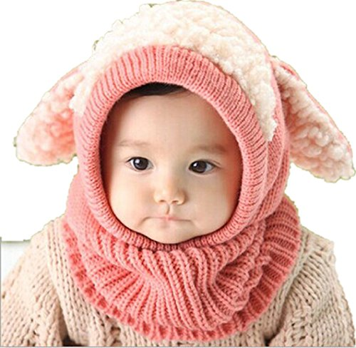 Baby-Hut DDLBiz® Winter-Baby Kids Warm Woolen Coif Hood Schal Kappen Mützen (Pink)
