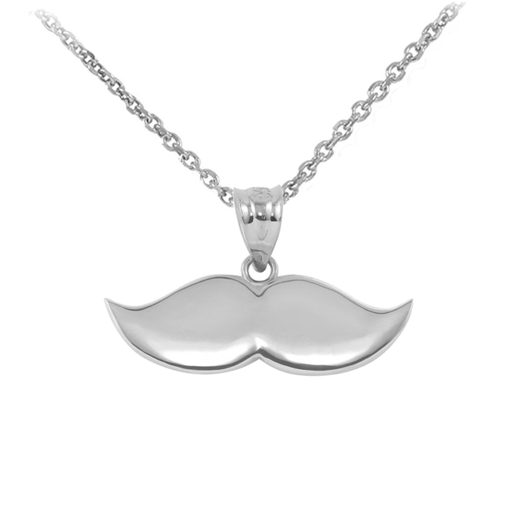 Fine 10k White Gold Cute Mustache Charm Pendant Necklace
