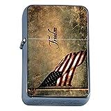 Vintage American Flag Flip Top Oil Lighter D6 Patriotic Freedom American Heroes Veterans
