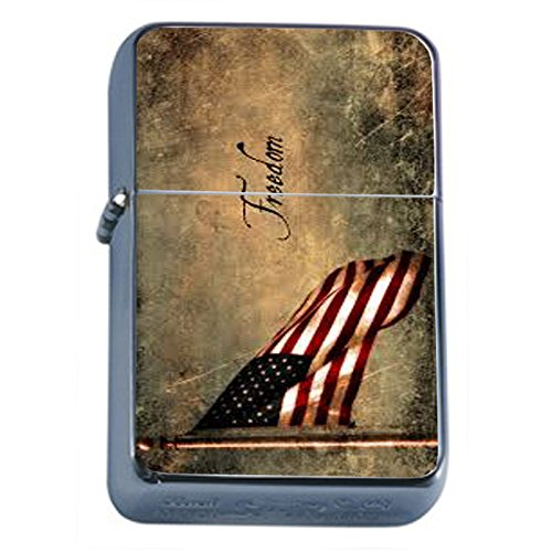 Vintage American Flag Flip Top Oil Lighter D6 Patriotic Freedom American Heroes Veterans by Perfection In Style