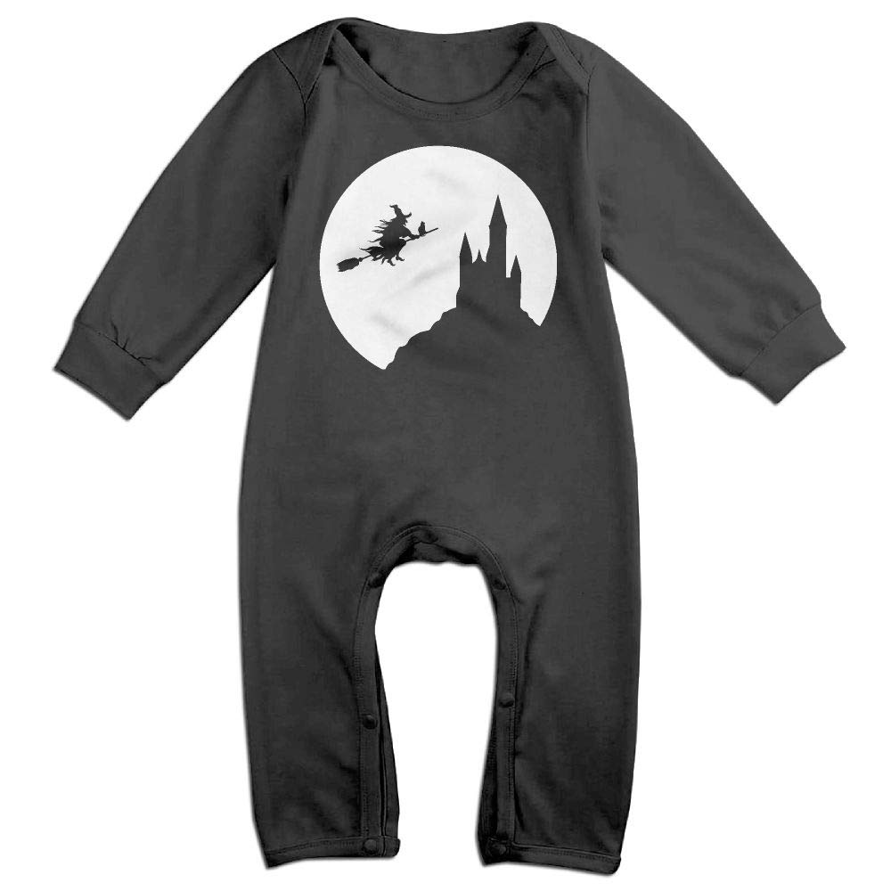 UGFGF-S3 Witch Flying in Full Moon Long Sleeve Infant Baby Boy Girl Baby Romper Jumpsuit Onsies for 6-24 Months Bodysuit