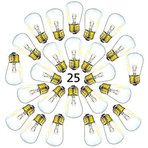 Replacement Bulbs S14 Commercial Grade String Light - 25 Pack - 1.5 Inch Candelabra Screw Base fits E27 and E26 Sockets ()
