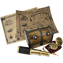 WellPackBox DIY Kids Pirate Treasure Chest Hunt Map Kit 6 Telescope Nautical 2 Dalvey Compass PLUS Two Maps