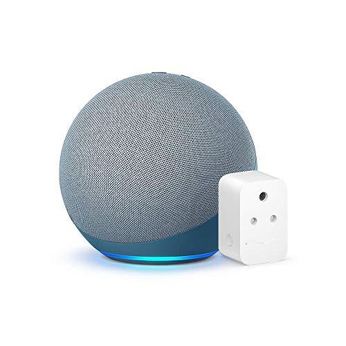 Echo (4th Gen, Blue) bundle with Amazon 6A Smart Plug – Easy Set-Up