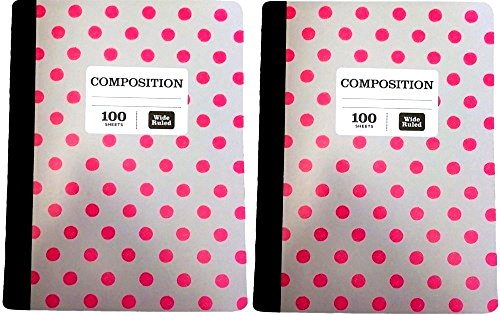 Norcom Grey Pink Polka Dot Composition Notebook College Ruled - Bundle of Two (College Ruled)