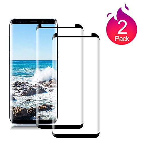 Loopilops Samsung Galaxy S8 [2 Pack] Screen Protector 3D Curved Tempered [Anti-Bubble][9H Hardness][HD Clear][Anti-Scratch][Case Friendly] Glass Screen Film for Samsung Galaxy S8 Black