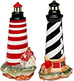 CG 10480 Black Striped & Red Striped Lighthouse Salt & Pepper Shakers